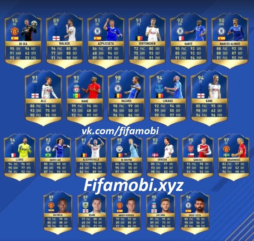 FIFA 17 Premier League EPL Team of the Season команда сезона Апл премьер лига fifamobi TOTS ТОТС